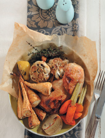 Lemon-roasted chicken with parsnips recipe
