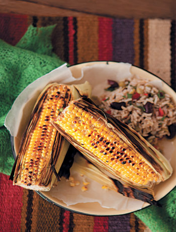 Lime buttered corn with Mexican brown rice recipe