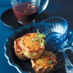 Mini duck and mushroom pies with wine and gooseberry sauce