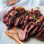 Pan-fried rump steak with spiced salt and fresh beetroot salsa