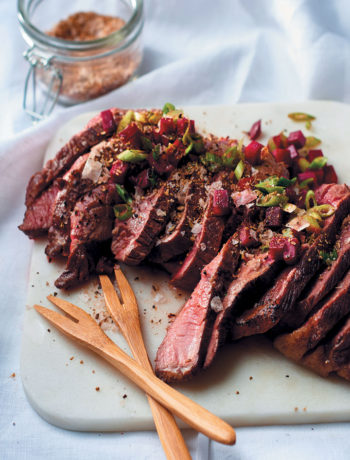 Pan-fried rump steak with spiced salt and fresh beetroot salsa recipe