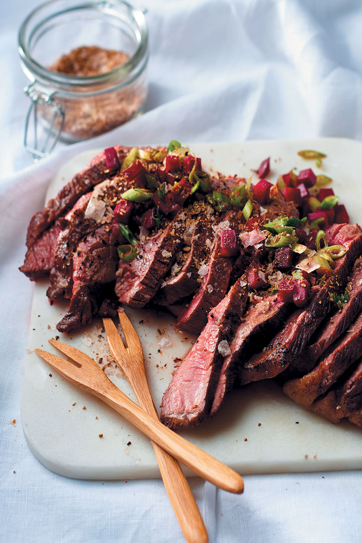 Pan Fried Rump Steak With Spiced Salt And Fresh Beetroot Salsa Recipe