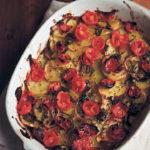 Patate arraganate (sliced roasted potatoes with tomato, oregano and basil)