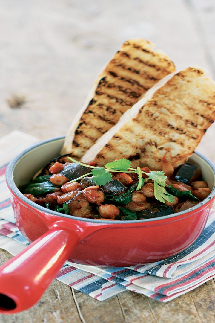 Peri peri aubergine and chickpea stew recipe