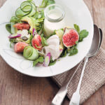 Poached chicken and fig salad with Gorgonzola dressing