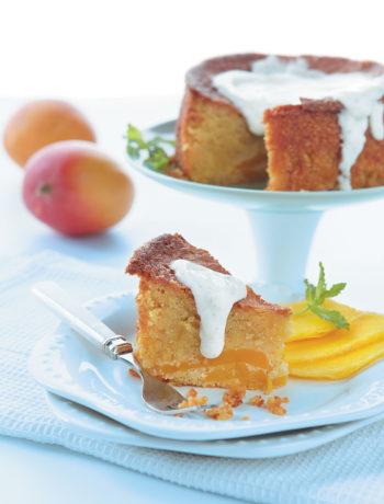 Polenta and mango cake with a white chocolate yoghurt sauce recipe