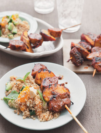 Pork and peach kebabs with peach and cucumber couscous salad recipe