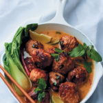 Pork meatballs in a fragrant lemongrass and coconut broth