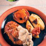 Pork neck steaks with homemade mushroom sauce