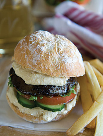 Portobello mushroom burger and chips recipe