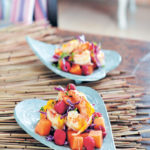 Prawn, papaya, raspberry and red cabbage salad