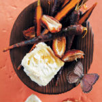Purple carrot, date and goat's crottin salad