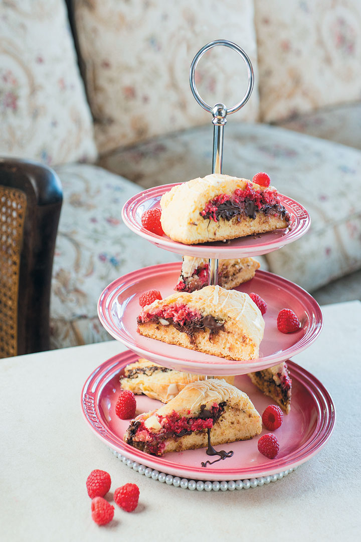 Raspberry, hazelnut and chocolate scones recipe