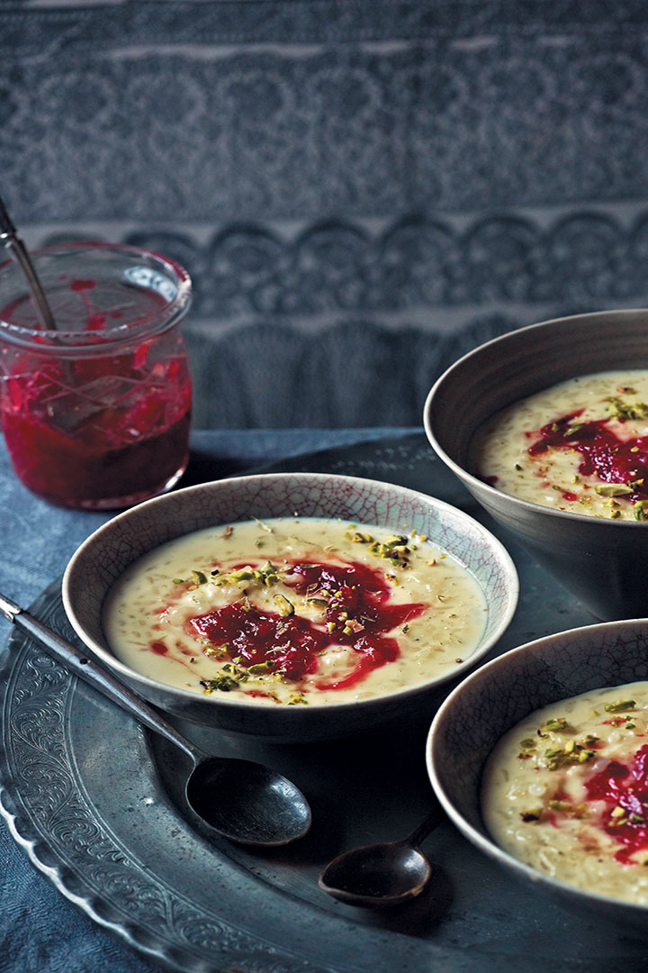 Rice pudding with rose petal jam recipe