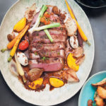 Roast beef with carrot, horseradish, duck fat potatoes & marrows