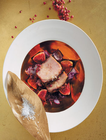 Roast loin of pork with fig salsa recipe