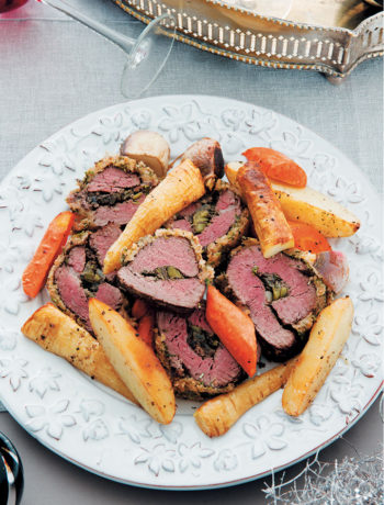 Rolled stuffed fillet of beef with horseradish crust recipe