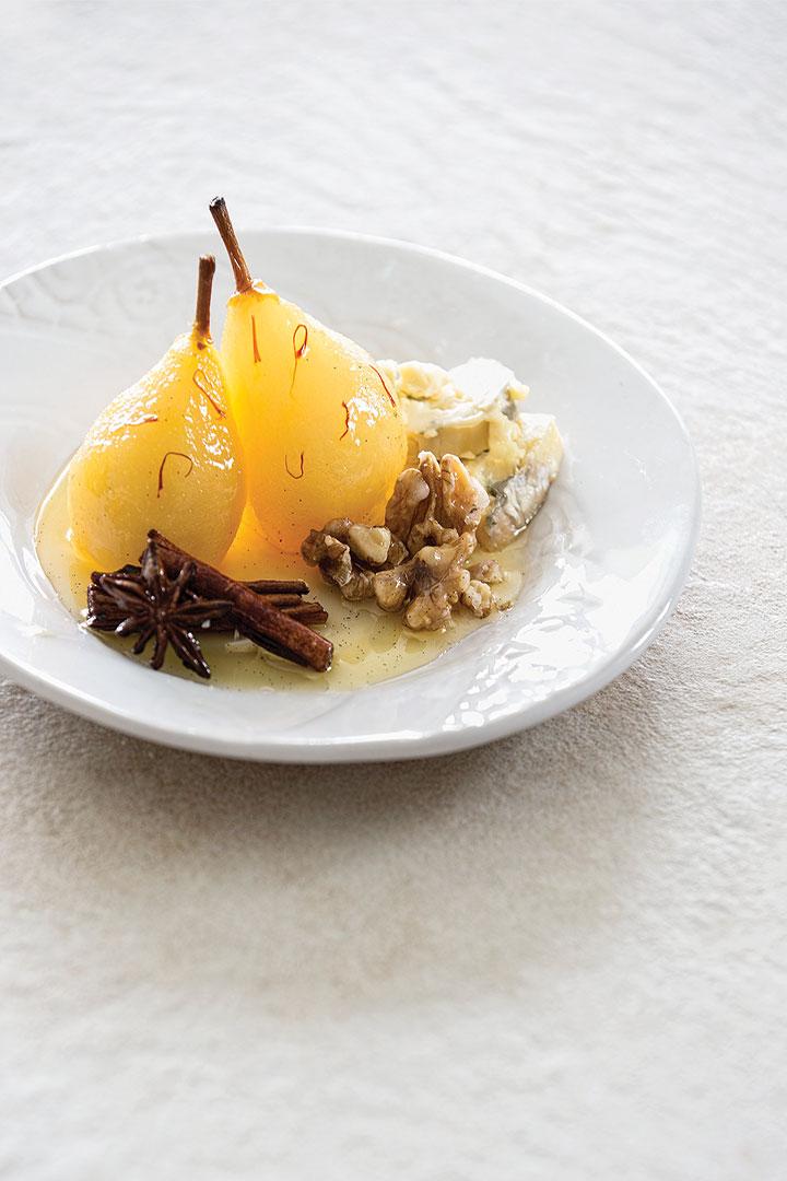 Saffron-spiced poached pears with Gorgonzola walnuts recipe