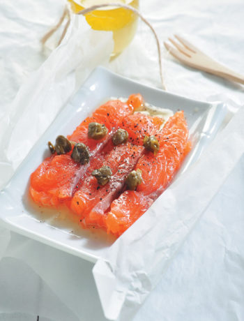 Salmon carpaccio with lemon dressing recipe