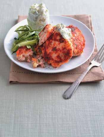 Salmon fishcakes with creamy tzatziki recipe