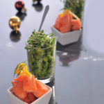Salmon, mushy peas and dill