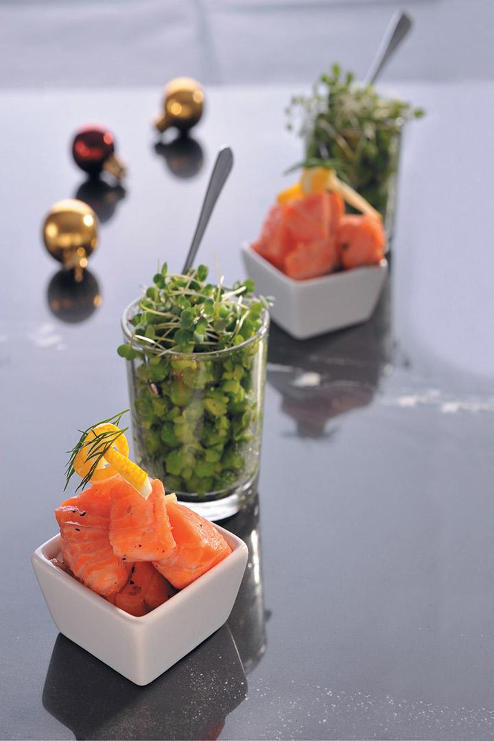 Salmon, mushy peas and dill recipe