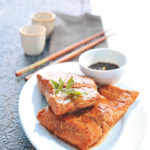 Salmon steaks with a sesame and ginger dressing