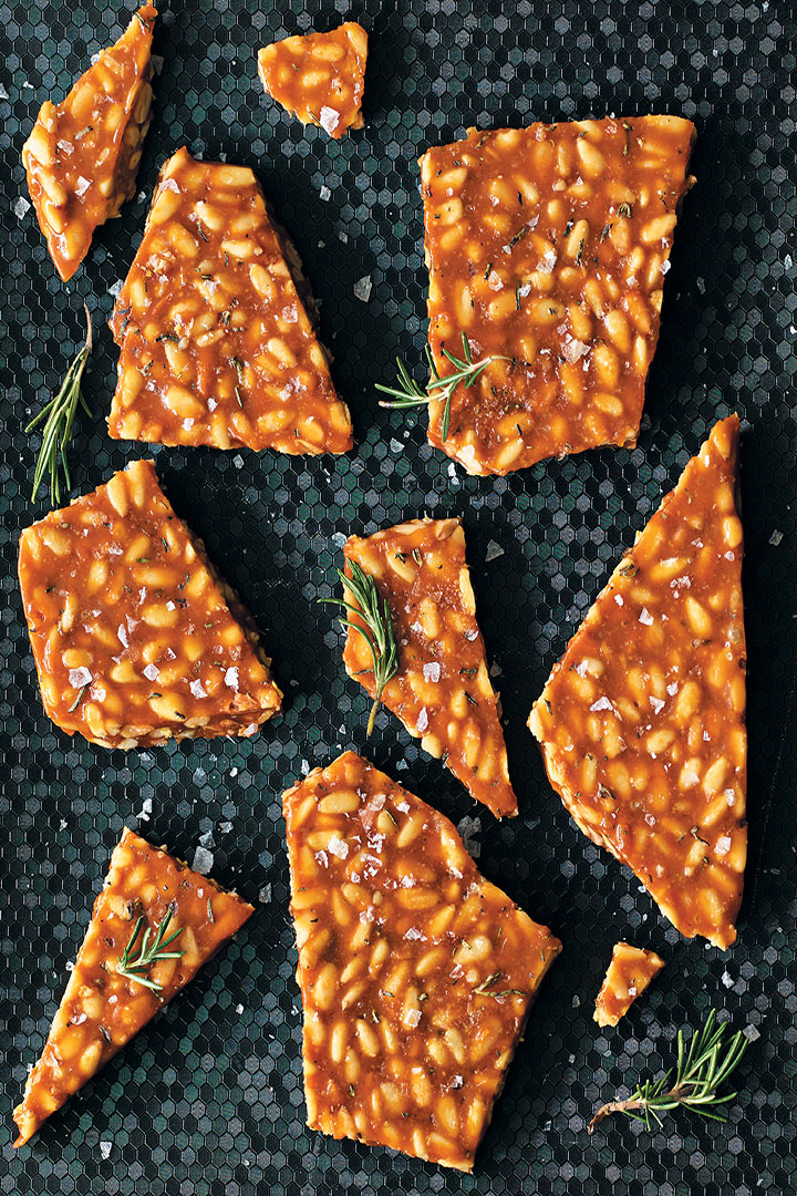 Salted caramel and rosemary pine nut brittle recipe