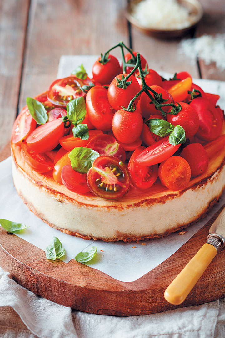 Savoury Baked Ricotta Cheesecake With Exotic Tomatoes Recipe