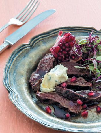 Seared ostrich salad with spiced pomegranate molasses recipe