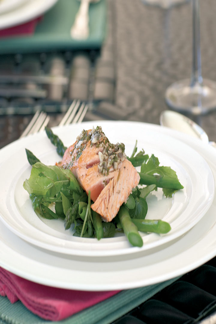 Seared salmon with warm anchovy dressing recipe