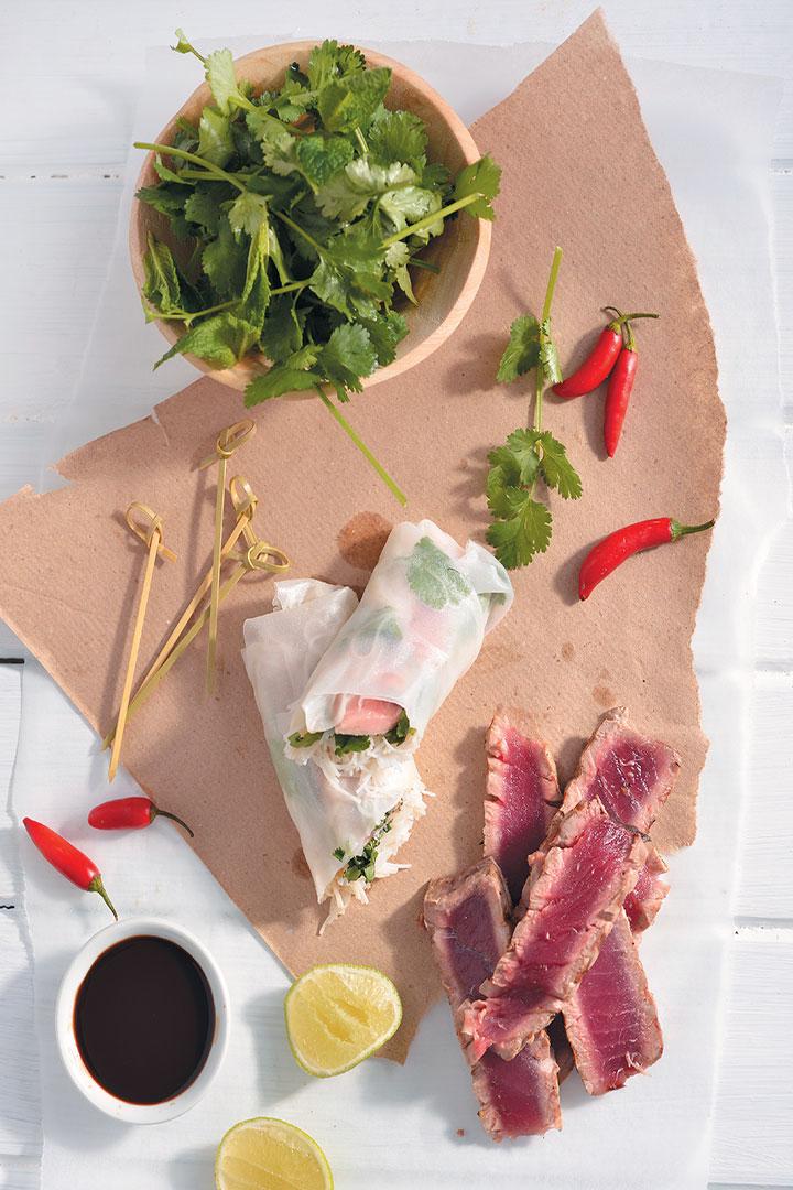 Seared tuna rice paper wraps recipe