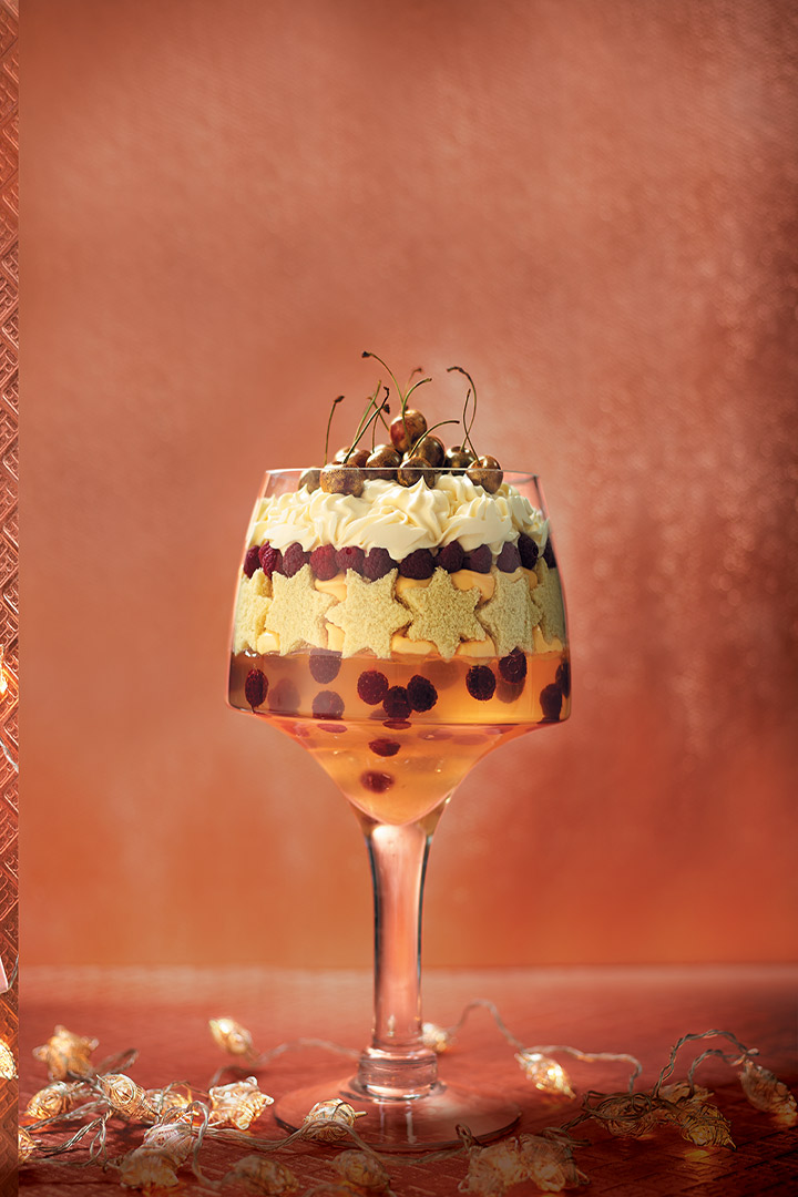 Show-stopping stars and floating berries trifle recipe