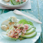 Shrimp, avocado and bacon salad boats with yoghurt mayonnaise