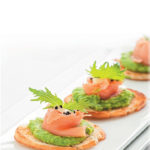Smoked salmon and minted pea crostini
