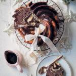 Spiced chocolate and vanilla zebra bundt with Amarula ganache