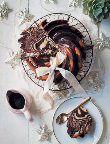 Spiced chocolate and vanilla zebra bundt with Amarula ganache recipe