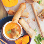 Spicy prawn and vegetable spring rolls with sweet persimmon and ginger dipping sauce