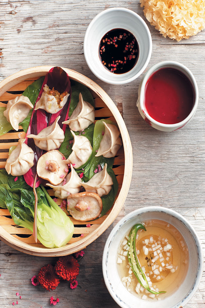 Steamed chicken and prawn dumplings recipe