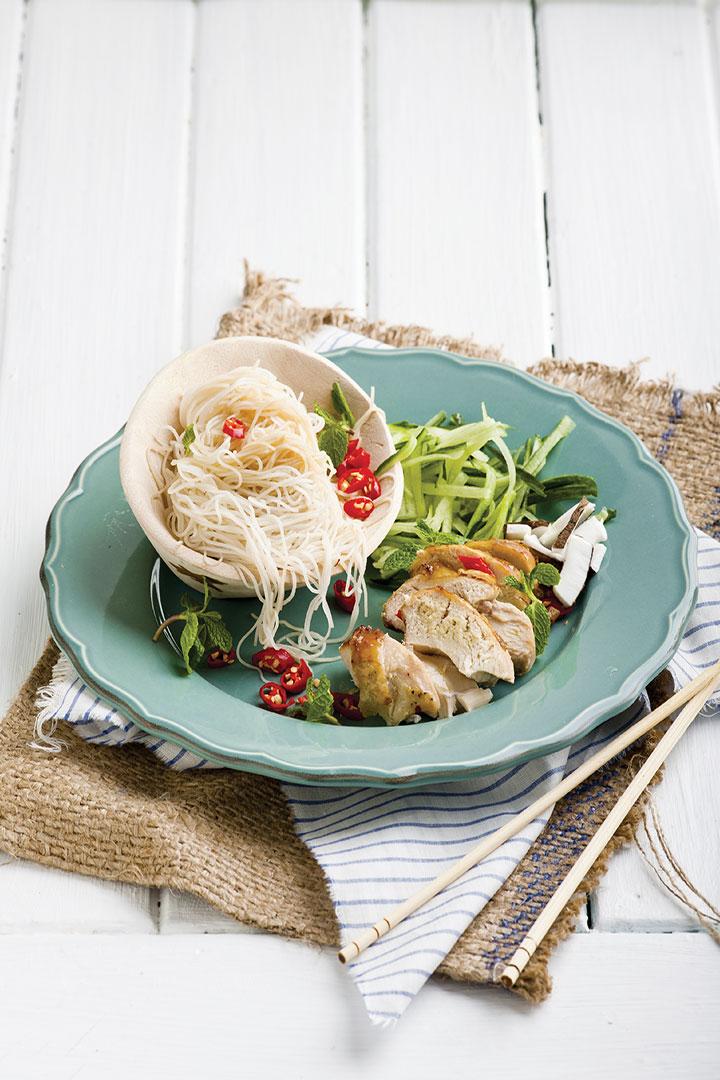 Sticky honey chicken with ponzu rice noodles recipe