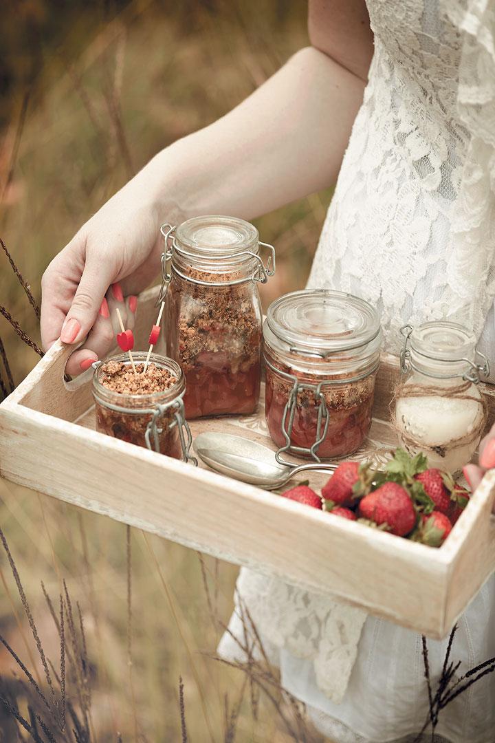 Strawberry and nectarine crumble pots recipe