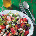 Strawberry, baby herb, walnut and blue cheese salad