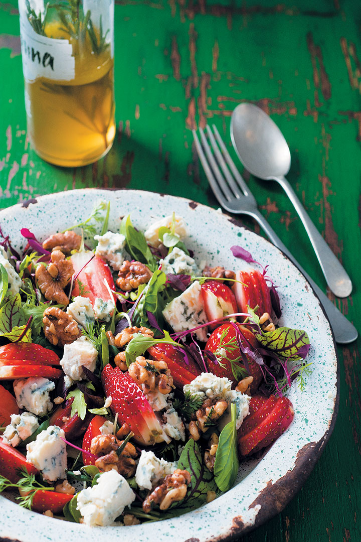 Strawberry, baby herb, walnut and blue cheese salad recipe