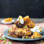 Sweet and spicy chargrilled pineapple with coconut-granadilla cream and pistachios
