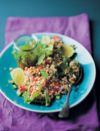Tabbouleh with quinoa and honey cinnamon dressing recipe