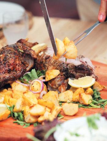 Traditional Greek roast lamb with potatoes recipe