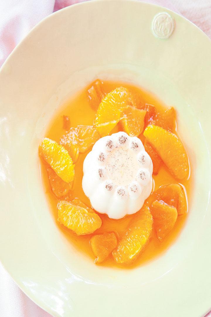 Vanilla panna cotta with roast pineapple and citrus salad recipe