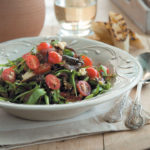 Warm cinnamon-coated aubergine, tomato and caramelised onion salad