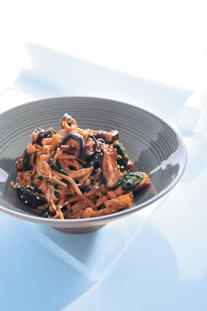 Wild mushrooms and baby spinach stir-fry recipe