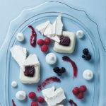 Yoghurt panna cotta with berry coulis, elderflower and meringue shards